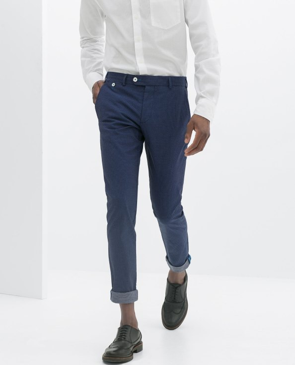Zara Blue Micro-Knit Trousers. Ref. 6861/471