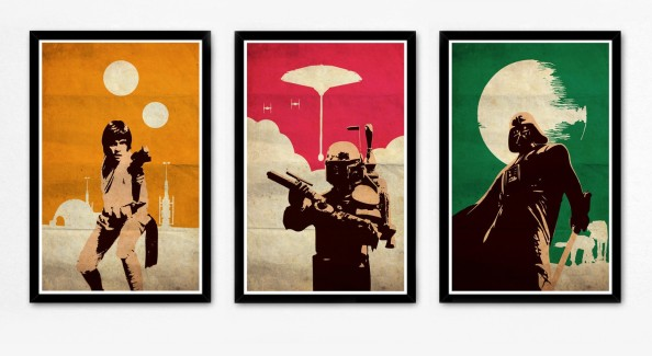 5 Things you need for a Stylish Man Cave - star wars trilogy movie art
