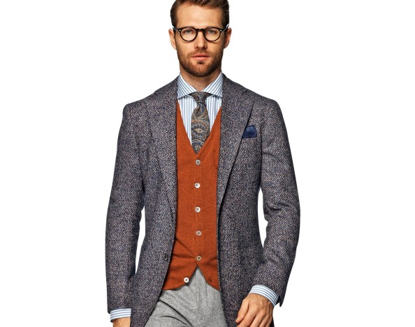 Suitsupply plain blue, textured Hudson