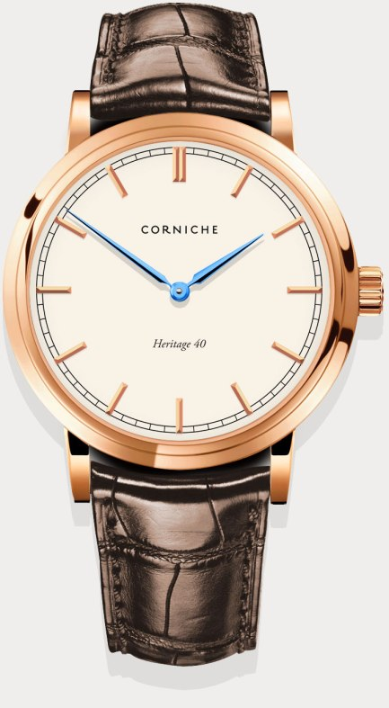 Corniche Heritage 40 sports blue anodized  dauphine hands similar to the blued steel hands found on high-end timepieces.