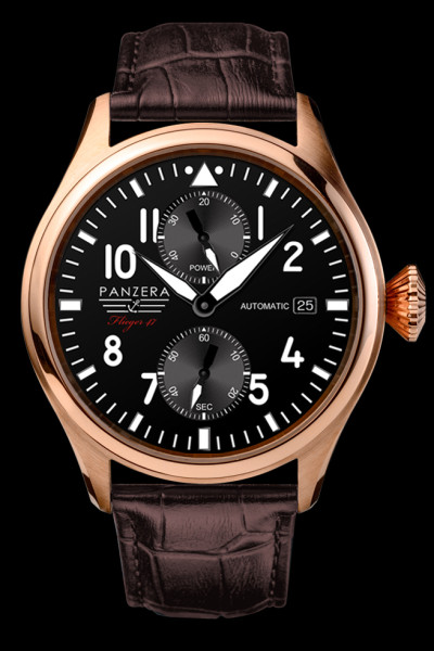 Panzera's F47-07D Dornier is 47mm but sits comfortably on wrist thanks to slightly tapered lugs.