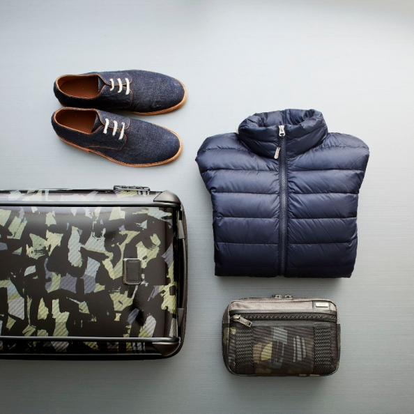 It's a hipster's OCD dream - to have everything style coordinated: Esquivel Shoes in Navy with TUMI PAX Patrol Travel Puffer Jacket in Navy. An Alpha Bravo Riley Kit in Grey/Camo with a Camo/Olive Tegra-Lite® International 4-Wheel Carry-On.