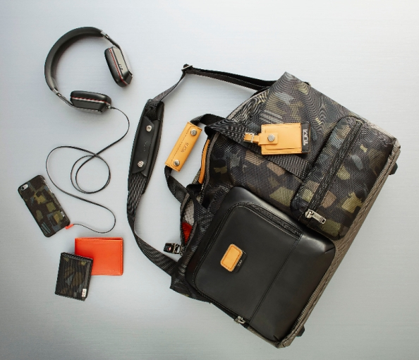 What Nick Wooster did for Camo jackets, Tumi will do for accessories. TUMI Headphone by Monster Products // 14431 // Black Alpha Bravo Grissom Travel Satchel // 222358 // Grey/Camo Alpha Gusseted Card Case with ID // 119256 // Camo Chambers Double Billfold // 12634 // Orange TUMI Cover for iPhone 6 // 14276 // Camo